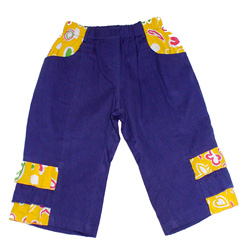 Pantalone in tela cotone con volantini