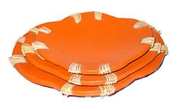 Centrotavola in terracotta ovale con rattan