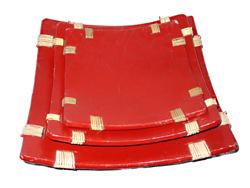 Centrotavola in terracotta quadrato con rattan