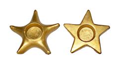 Portacandela in terracotta stella oro