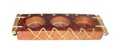 Portacandela Terracotta Manico Bambu 3 Candele