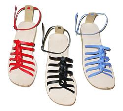 Sandalo intrecciato in vilpelle