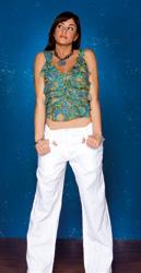 Pantalone con baschina e pieghe in lino krash