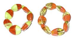 Braccialetto vetro bicolor: giallo/arancio, arancio/verde, turchese/turchese, rosso/arancio