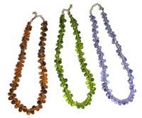 Collana in vetro grappolo piccolo. Tipologia trasparente: viola, verde, bronzo. Tipologia opaco: arancio, rosso