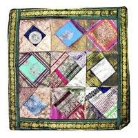 Copricuscino silk saree patchwork