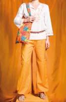 Pantalone laccetti in cotone a telaio. Free size. Giallo, turchese, magenta, arancio.
