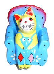 Gatto su Sediolina Color cm. 8