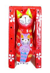 Gatto su Sedia Sdraio Color cm. 10