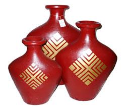 Bottiglia Terracotta Colorata Disegno Centrale mod. Largo