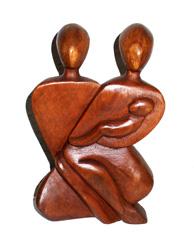 Statua Legno Famiglia cm 15