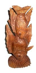 Doppio pesce in legno