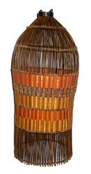 Lampadario cilindro in saree e bambu