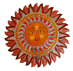 Specchio mosaico sole con volto